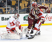Matt O'Connor (BU - 29), Bill Arnold (BC - 24), Garrett Noonan (BU - 13) - The Boston College Eagles defeated the Boston University Terriers 3-1 (EN) in their opening round game of the 2014 Beanpot on Monday, February 3, 2014, at TD Garden in Boston, Massachusetts.