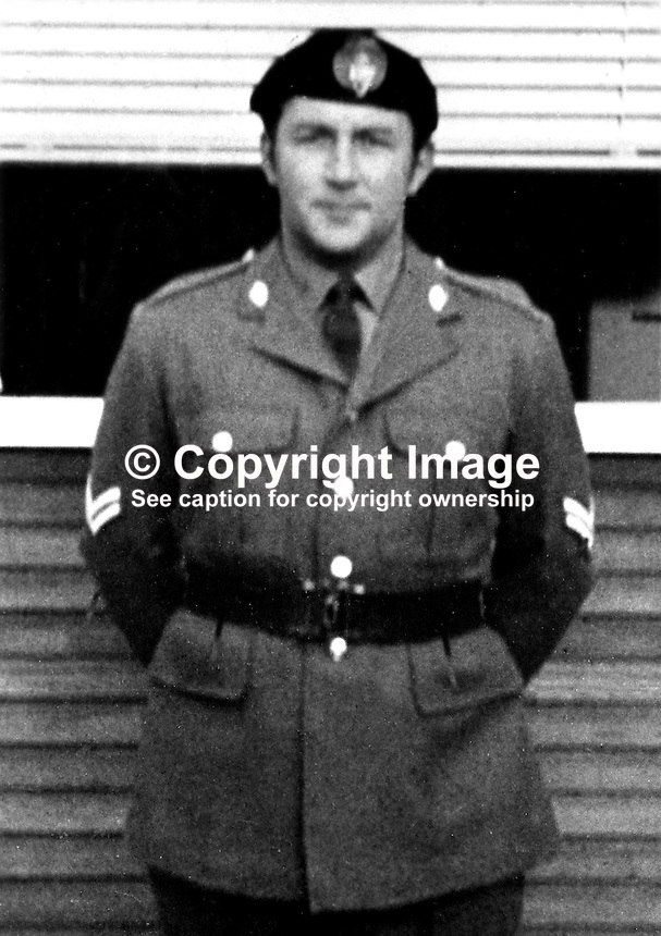 Irwin Long, 2nd Lieutenant, UDR, Ulster Defence Regiment, from Lurgan, Craigavon, N Ireland, who was shot dead by the Provisional IRA as he was driving through his home town on his way to collect his 4 years old daughter. The shooting took place on 8th November 1972. 197211080769b.<br /> <br /> Copyright Image from Victor Patterson, 54 Dorchester Park, Belfast, UK, BT9 6RJ<br /> <br /> t1: +44 28 9066 1296 (from Rep of Ireland 048 9066 1296)<br /> t2: +44 28 9002 2446 (from Rep of Ireland 048 9002 2446)<br /> m: +44 7802 353836<br /> <br /> e1: victorpatterson@me.com<br /> e2: victorpatterson@gmail.com<br /> <br /> The use of my copyright images is subject to my Terms &amp; Conditions.<br /> <br /> It is IMPORTANT that you familiarise yourself with them. They are available on my website at www.victorpatterson.com.<br /> <br /> None of my copyright images may be used on a website unless they are visibly watermarked, i.e. &copy; Victor Patterson within the body of the visible image. Metadata denoting my copyright must NOT be deleted. <br /> <br /> Web use is extra at currently recommended NUJ rates.
