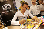 Alberto Contador at the Earls Court Cycle Show. <br /> For his Sponsor SIS SCIENCE IN SPORT.