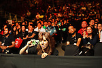 Filming the spectacle with telephones and cameras spectators watch the MMA cage fighting<br />