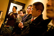 Customers in the 'Campbelltoun Loch' bar in the Yurakucho district of Tokyo, Japan, Friday 30th January 2009.  The bar is very small, with seating for 9 customers only, and has approximately 250 whiskies on offer.