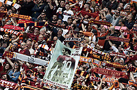 Calcio, Serie A: Roma, stadio Olimpico, 30 aprile 2017.<br /> AS Roma's supporters hold scarfs before the Italian Serie A football match between AS Roma and Lazio at Rome's Olympic stadium, April 30, 2017.<br /> UPDATE IMAGES PRESS/Isabella Bonotto