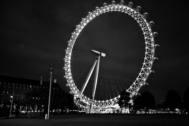 The Millennium Wheel is illuminated against the night sky in London, England. May 16, 2009