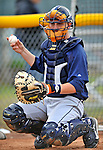 19 June 2008: Oneonta Tigers catcher Joe Bowen in action against the Vermont Lake Monsters at historic Centennial Field in Burlington, Vermont. The Tigers defeated the Lake Monsters 13-8 in the rubber match of their three-game season opening series in Vermont...Mandatory Credit: Ed Wolfstein Photo