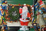 Plastic Santa Claus holiday setting
