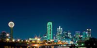 Panoramic view of Dallas at night.