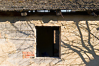Shadows on wall of abandoned building, Cesky Krumlov, Czech Republic
