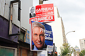 Marc Garneau and Gilles Duceppe poster up for federal elections 2008 in downtown Montreal