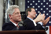 United States President Bill Clinton acknowledges baseball star Hank Aaron late 27 January, 2000 during his final State of the Union address in Washington, DC.  Behind the President is US Vice-President Al Gore. <br /> Credit: Steven Jaffe - Pool via CNP
