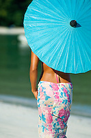 Alexa Putnam with sarong and parasol<br /> Cinnamon Bay<br /> Virgin Islands National Park