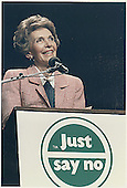 First Lady Nancy Reagan speaks at a &quot;Just Say No&quot; (to drugs) rally in Los Angeles, California on May 15, 1987.<br /> Credit: White House via CNP