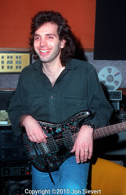 "Joe Satriani, Novemeber 1988, recording ""Flying in a Blue Dream."" American multi-instrumentalist, known primarily for his work as an instrumental rock guitarist, with multiple Grammy Award nominations."