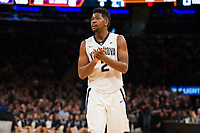 NEW YORK, NY - Thursday March 9, 2017: Kris Jenkins (#2) of Villanova celebrates his team's momentum over St. John's as the two schools square off in the Quarterfinals of the Big East Tournament at Madison Square Garden.