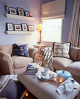 A warm soup served in a lounge ready for a cosy afteroon with cushions throws and a stack of books