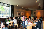 The interior of the popular Grüner Restaurant in Portland, OR which features Alpine cuisine.