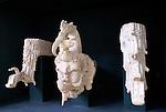 Maya rain god Chaak and waterbird and streams sculpture, Copan Sculpture Museum, Copan, Honduras.