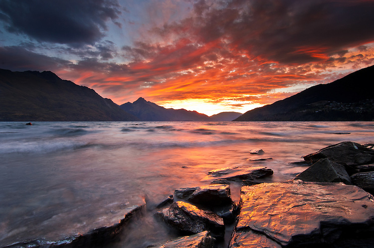 Sunset over Lake Wakatipu from the Queenstown Gardens, Central Otago, South Island, New Zealand - stock photo, canvas, fine art print