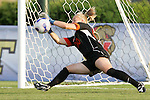 7 November 2007: Miami goalkeeper Lauren McAdam makes a save during the penalty kick shootout. The University of Virginia tied the University of Miami 0-0 at the Disney Wide World of Sports complex in Orlando, FL in an Atlantic Coast Conference tournament quarterfinal match.  Virginia advanced to the semifinals on penalty kicks, 4-2.