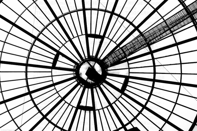 The photograph of a domed roof which is composed from steel scaffolding and glass.