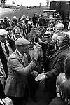 Appleby in Westmorland Horse fair Cumbria. 1981 Gypsy horse dealers sealing a bargain sale of a horse traditional way to slap palms of hands as confirmation of each change in price agreed in the bargaining  process. 1981