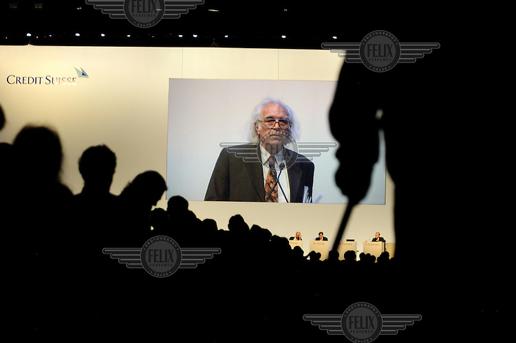 An elderly shareholder gives an address at the annual general meeting for shareholders of Credit Suisse. The Swiss banking industry holds an estimated 4,000 billion Swiss Francs (USD 4,240 billion) in assets, more than half of it foreign, including CHF 880 billion in undeclared European assets alone, benefiting from the country's famous banking secrecy laws.