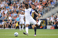 Shavar Thomas (6) of the Kansas City Wizards is trailed by Sebastien Le Toux (9) of the Philadelphia Union. The Philadelphia Union and the Kansas City Wizards played to a 1-1 tie during a Major League Soccer (MLS) match at PPL Park in Chester, PA, on September 04, 2010.