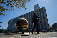 NEW YORK, USA - SEPT 14, A security officer walks around United Nations Headquarters during preparations for the 71st General Assembly in New York on September 14, 2016. photo by VIEWpress