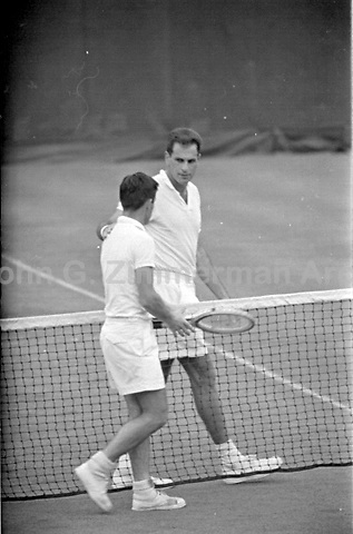 American tennis player Dick Savitt loses quarterfinal of 1956 U.S. Men's National Championships against Australian Ken Rosewall in five sets. West Side Tennis Club, Forest Hills, New York. Photograph by John G. Zimmerman