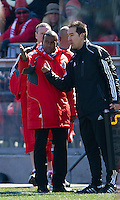 26 March 2011: Toronto FC head coach Aron Winter talks to the fourth official during an MLS game between the Portland Timbers and the Toronto FC at BMO Field in Toronto, Ontario Canada..Toronto FC won 2-0....