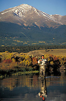 (MR500) fly fishing, Mt. Elbert (14,433' highest point in state), near Leadville, CO. Oliver Dixon (MR500). Leadville, Colorado.