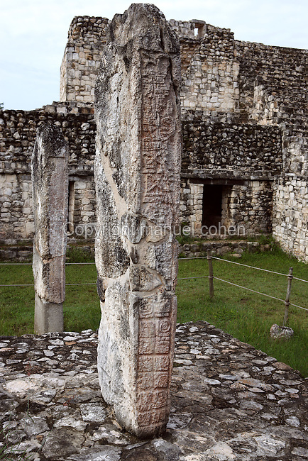 Stelae, with the South Structure in the background, South Plaza, Ek Balam (?Black Jaguar? in Maya), flourished during the Late Classic period between 700 and 1200 AD, Yucatan, Mexico. Picture by Manuel Cohen