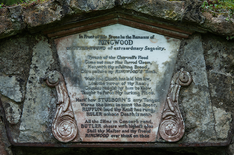 """Memorial to Ringwood, otter hound, Rousham  House and Garden: """"In Front of this Stone lie the Remains of Ringwood an otter-hound of extraordinary Sagacity""""."""