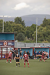 Substitute players and the coaching staff of Alloa Athletc football club watching their team at Ochilview stadium, Larbert, during their Irn Bru Scottish League second division match against Stenhousemuir. Alloa won the match by one goal to nil against their local rivals in a match watched by 619 spectators.