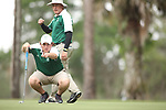 HOWEY IN THE HILLS, FL - MAY 19: Gavin Dugas of Husson lines up a putt with the help of his coach during the Division III Men's Golf Championship held at the Mission Inn Resort and Club on May 19, 2017 in Howey In The Hills, Florida. (Photo by Cy Cyr/NCAA Photos via Getty Images)