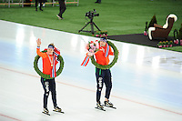 SPEED SKATING: HAMAR: Vikingskipet, 05-03-2017, ISU World Championship Allround, World Champions, Ireen Wüst (NED), Sven Kramer (NED), ©photo Martin de Jong