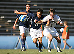 2 September 2007: Monmouth's Drew Von Bargen (15) and Wake Forest's Sam Cronin (2) chase the ball. The Wake Forest University Demon Deacons defeated the Monmouth University Hawks 2-0 at Fetzer Field in Chapel Hill, North Carolina in an NCAA Division I Men's Soccer game.