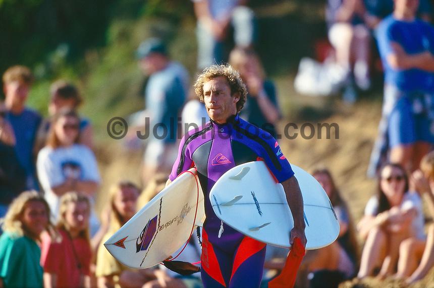 Two times World Professional Surfing Champion Tom Carroll (AUS)  at the1993  Rip Curl Pro, Bells Beach, Torquay, Victoria, Australia.  Photo: joliphotos.com