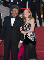 Jessica Chastain &amp; Gabriel Yared at the premiere for &quot;Ismael's Ghosts&quot; at the opening ceremony of the 70th Festival de Cannes, Cannes, France. 17 May 2017<br /> Picture: Paul Smith/Featureflash/SilverHub 0208 004 5359 sales@silverhubmedia.com