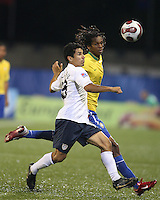 Tony Beltran and Jo move onto a high pass. USA stunned Brazil, winning 2-1 to finish first in their group. Final game in group D in Ottawa, Ontario, on JULY 6 2007.