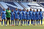 16 October 2014: Martinique's starters. From left: Catherine Noel (MTQ), Cathy Bellune (MTQ), Kelly Brena (MTQ), Doralina Dijon (MTQ), Mandy Jacques (MTQ), Aurelie Rouge (MTQ), Nathaela Paulin (MTQ), Sylvia Solbiac (MTQ), Sandra Parfait (MTQ), Johanne Guillou (MTQ), and Prisca Carin (MTQ). The Jamaica Women's National Team played the Martinique Women's National Team at Sporting Park in Kansas City, Kansas in a 2014 CONCACAF Women's Championship Group B game, which serves as a qualifying tournament for the 2015 FIFA Women's World Cup in Canada. Jamaica won the game 6-0.