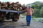 Janet Barnett with her husband's lumber truck, near Rousseau, KY on October 14th, 2011. Photo by Lauryn Morris.