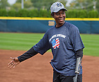Sept. 29. 2013; Former Notre Dame Women's Basketball player Danielle Green was a guest coach at first base.<br /> <br /> Photo by Matt Cashore/University of Notre Dame