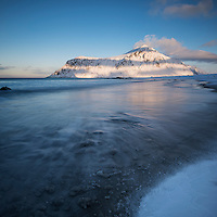 Skagsanden beach in winter, Flakstadøy, Lofoten Islands, Norway