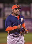 10 March 2014: Houston Astros outfielder Delino DeShields Jr. trots back to the dugout during a Spring Training game against the Washington Nationals at Space Coast Stadium in Viera, Florida. The Astros defeated the Nationals 7-4 in Grapefruit League play. Mandatory Credit: Ed Wolfstein Photo *** RAW (NEF) Image File Available ***