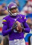 19 October 2014: Minnesota Vikings quarterback Teddy Bridgewater warms up prior to facing the Buffalo Bills at Ralph Wilson Stadium in Orchard Park, NY. The Bills defeated the Vikings 17-16 in a dramatic, last minute, comeback touchdown drive. Mandatory Credit: Ed Wolfstein Photo *** RAW (NEF) Image File Available ***