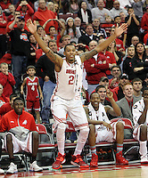 # 23Amir Williams cheers for the team during the first half Friday, Nov. 29, 2013, in Columbus, Ohio. (Photo by Terry Gilliam)