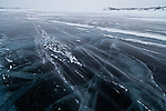 A fierce wind blows across the Dettah ice road in sub-zero temperatures.