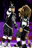 Jarret Stoll (Los Angeles Kings, #28) as a third star of the game and official mascot Bailey after ice-hockey match between Los Angeles Kings and Phoenix Coyotes in NHL league, March 3, 2011 at Staples Center, Los Angeles, USA. (Photo By Matic Klansek Velej / Sportida.com)