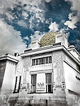 Clouds on the Secession building, an exhibition hall built in 1897 in Vienna, Austria