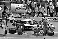 INDIANAPOLIS, IN: Roger McCluskey makes a pit stop in his Lightning 77/Offenhauser TC during the Indianapolis 500 on May 29, 1977, at the Indianapolis Motor Speedway.